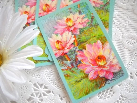 Charming Set of Vintage Playing Cards - Sweet Pink Water Lily