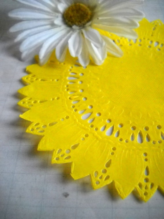 Darling Lot of Bright Yellow Flower Paper Doilies - Perfect for Spring