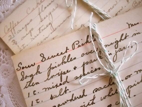 Sweet Bundle of Old Vintage Hand Written Recipe Cards