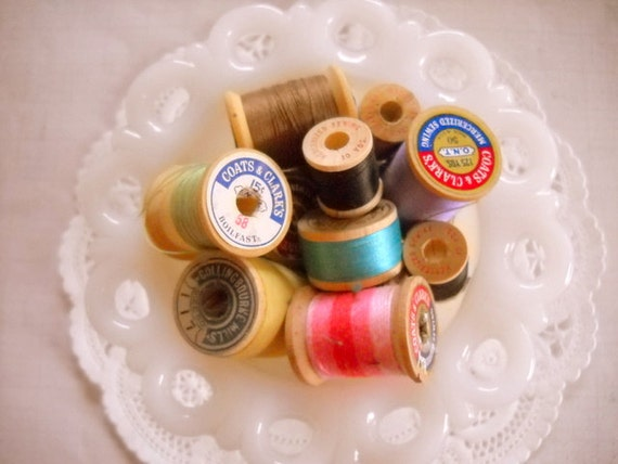 Charming Set of Wooden Vintage Thread Spools - Set of 10
