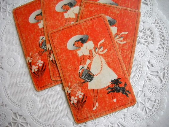 Charming Set of Vintage Playing Cards - Darling Garden Lady
