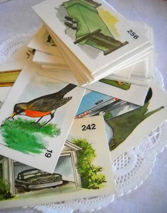 Charming Lot of Vintage Picture Flash Cards - Set of 10