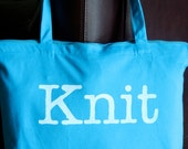 NEW Large Turquoise Blue Knit Zipper Tote Bag
