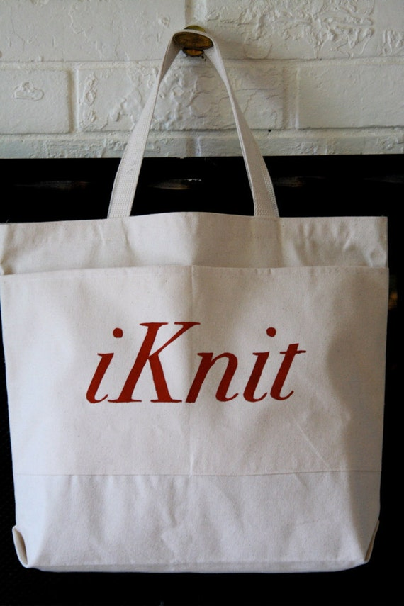 Large Knit Pocket Tote Bag
