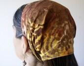 Autumn Brown Batik Swirl Extra Wide Headband Headcovering-- SALE --