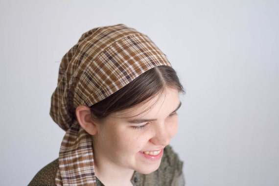 Snood Headcovering Hair Prayer Covering Veil Brown Plaid