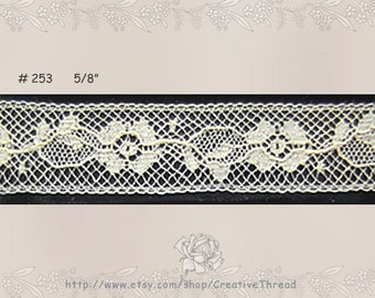 "Delicate French Lace Insertion - Cotton Heirloom Lace - Bridal Lace - 2 1/2 Yards Plus 2 1/8 Yards - ECRU/IVORY - 5/8"" wide -  No. 253"