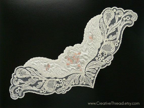 Vintage Embroidered Silk Dress Trim - Insert for Bodice - Costuming Trim - Camisole Insert - Ivory - Light Grey Green - Salmon