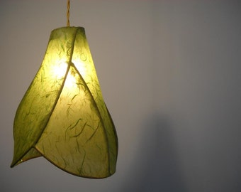 Handmade Paper Lantern - Sculptural Copper Hanging Pendant Light - The Camellia shown in Sprout Green