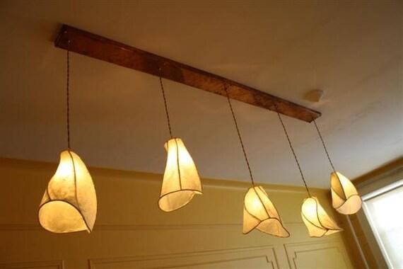 Items similar to custom camellia paper lantern copper chandelier 46 long rectangular copper - Paper light fixtures ...