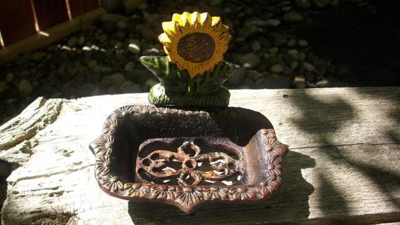 Rusty Cast Iron Sunflower Soap Dish