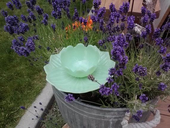 Vintage Fire King Jadeite Lotus Blossom Birdbath/Birdfeeder or Candleholder