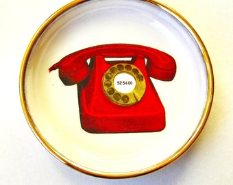 Small Vintage Collectible Ceramic Telephone Dish