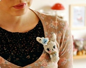 Bunny fabric brooch