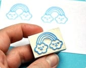 Rainbow hand carved rubber stamp