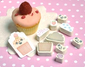 Sweet return - cupcake changing face hand carved rubber stamp set of 9