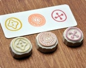 buttons hand carver rubber stamps set of 3