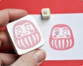 Daruma Japanese doll hand carved rubber stamp set of 2