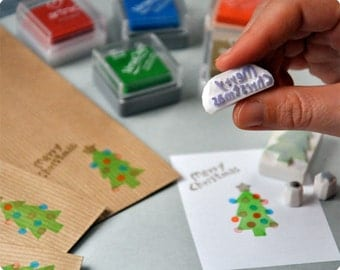 Christmas hand carved rubber stamp big xmas tree - set of 4