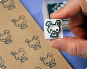 Special christmas bunny hand carved rubber stamp