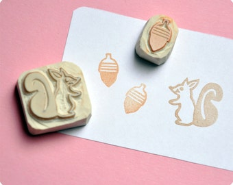 Christmas special hand carved rubber stamps squirrel and acorn