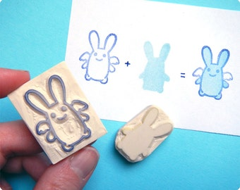 Ange Lapin rubber stamps. Handmade rubber stamp. Rubber stamp
