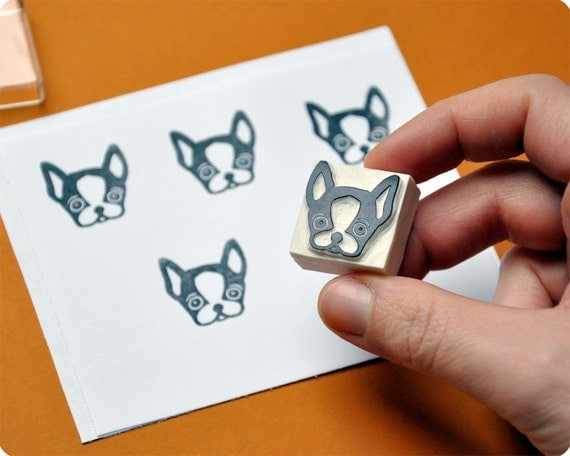 Hand carved rubber stamp french bulldog by memitherainbow