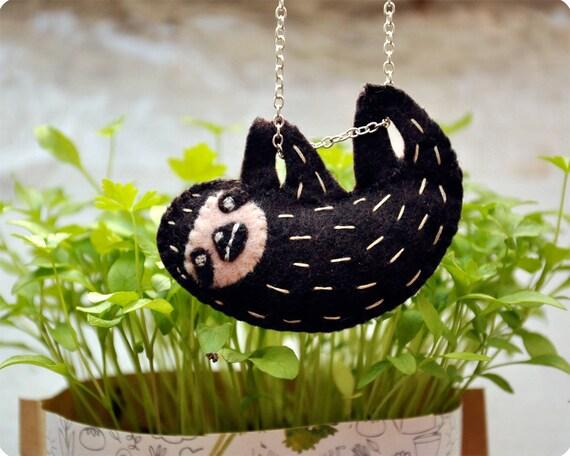 Cute Sloth felt handmade necklace
