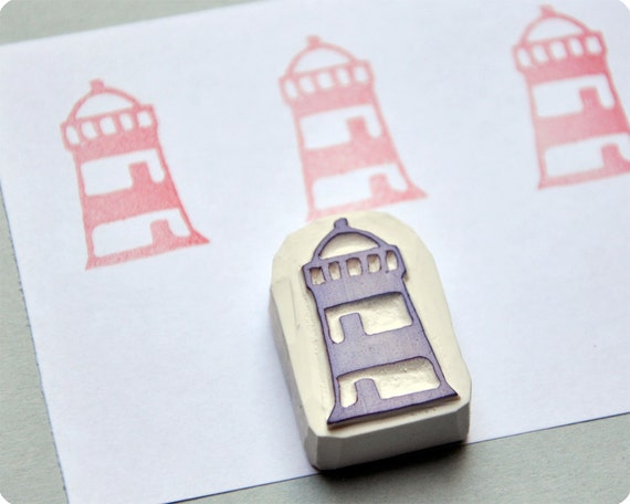 Lighthouse - Special Summer hand carved rubber stamps