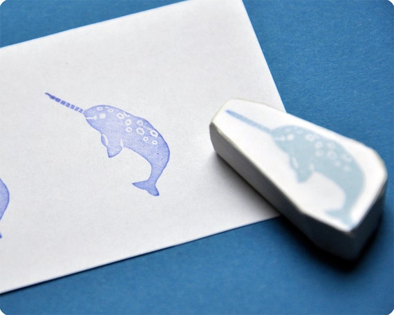 Little narwhal hand carved rubber stamp - the unicorn of the sea