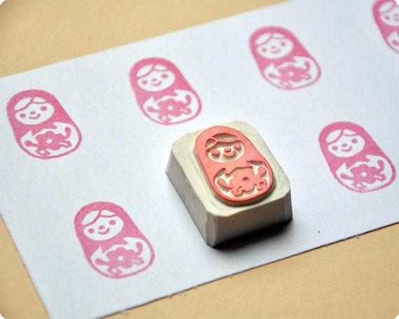 Matryoshka hand carved rubber stamp