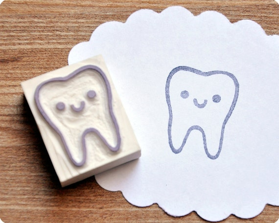 Cute tooth hand carved rubber stamp. Handmade rubber stamp. Rubber stamp