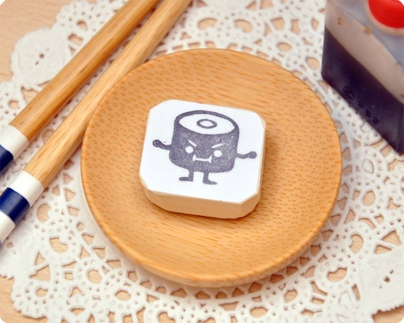 Maki sushi hand carved rubber stamp