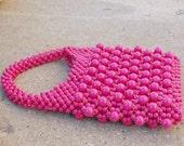 Hot Pink 1960s Handbag / Plastic beaded by Avanti Italy