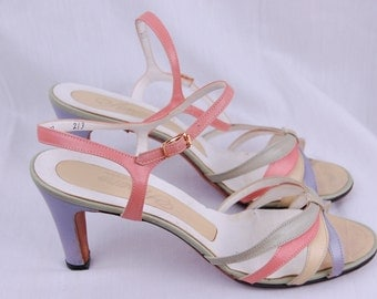 40s 50s Pastel Sandals - Pastel Strappy Pumps - 50s Pink and Purple Heels