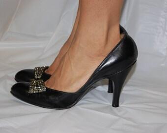 Vintage Rhinestone High Heels / black leather pumps O Connor and Goldberg