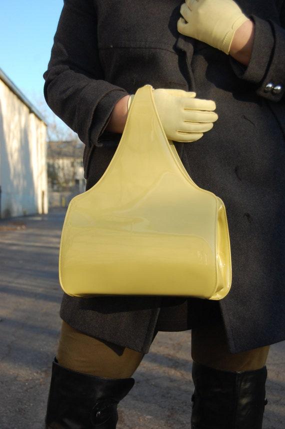 Vintage Pear color Vinyl Handbag 1960s