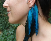 Custom Reserve Listing for gigibiehl - Cool Blue Feather Earring Cuff