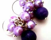 SALE Royal Purple Sugilite and Lavender Freshwater Pearl Cluster Earrings