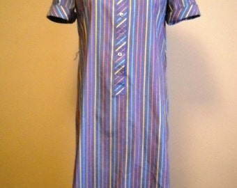 Oxford Style Button Up Vintage Striped Shirt Dress
