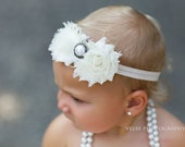 Vintage Double Rosette Flower Headband- Perfect for babies, girls, and women