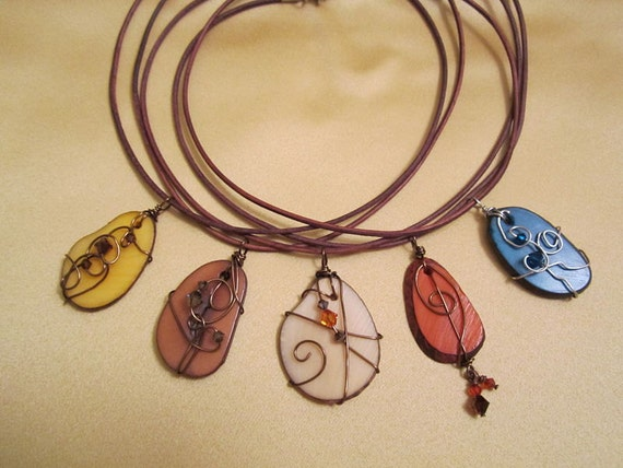 Rainforest Tagua Nut Necklace Wire Wrapped with Crystals on Leather Cord