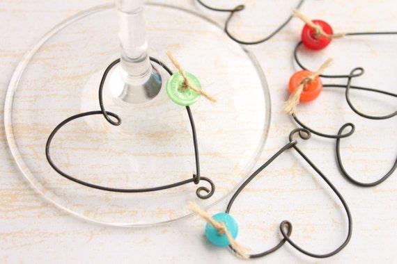Wine Glass Charms, Heart Shaped, Rustic Heart and Button Wine Glass Charm set (6),  Rustic Wire Heart Wine Glass Charms