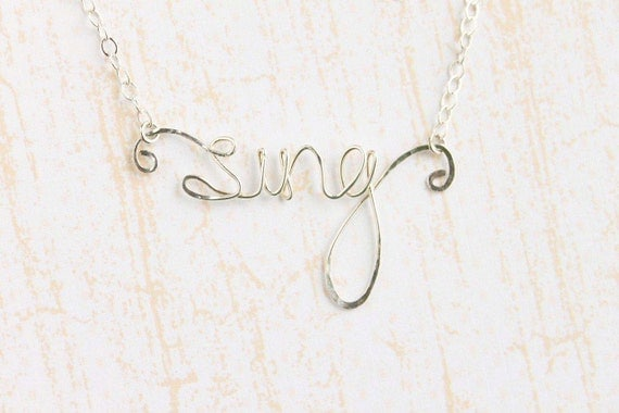 Wire Word Necklace SING  - Sterling Silver, Sterling Silver Sing Word Necklace - Sterling Silver Script Word Necklace, Word Necklace