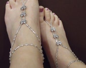 Sweetheart barefoot sandals, crystal barefoot sandals with silver heart accents