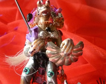 Art Doll WarRior Altered AcTion FiGurRe with Crystal and SwoRd and Cyber Sheild