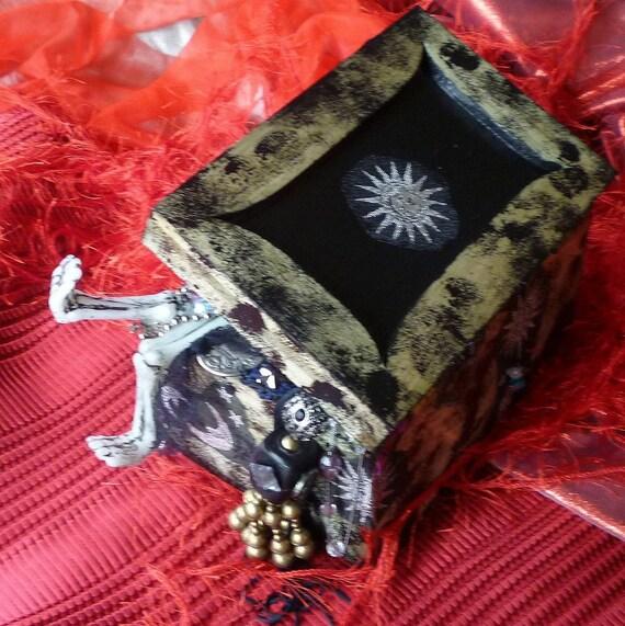 Lovely Bones Jewelry Box, Handmade Black Box of Bones by gothB4play