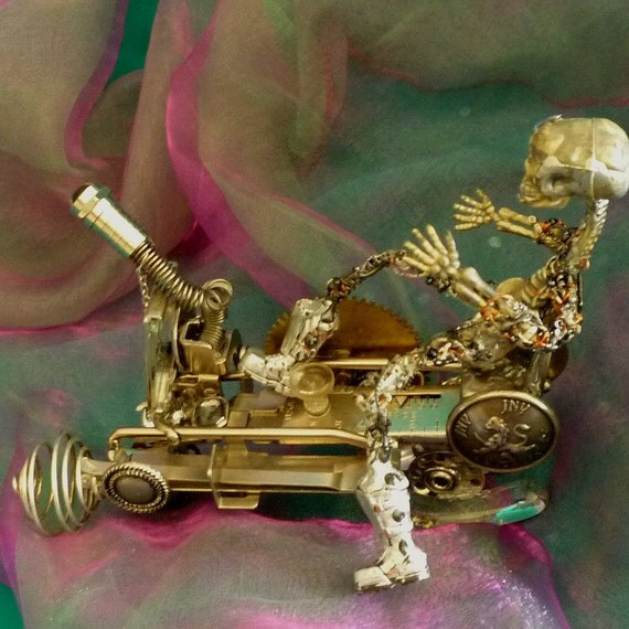 Doomsday Skeleton Driver, Cyber Robot, Robot on Vintage wheels by gothb4play