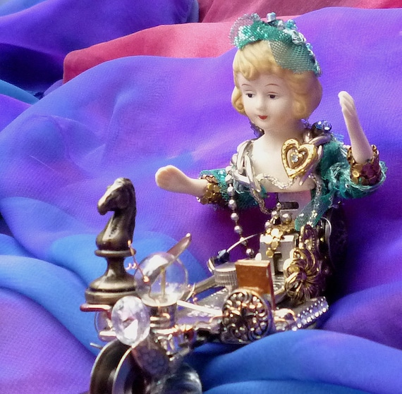 Steampunk girl Assembage Art, Cyber Elegance Vintage hardware Lady by gothb4play
