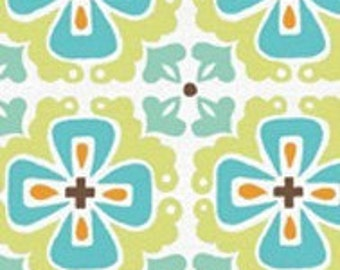 MONALUNA Monaco Organic Cotton Fabric FLOWERBED - TEAL low shipping